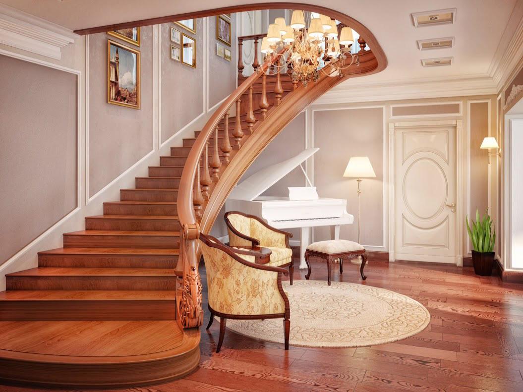 Дизайн 1 этажа лестницей